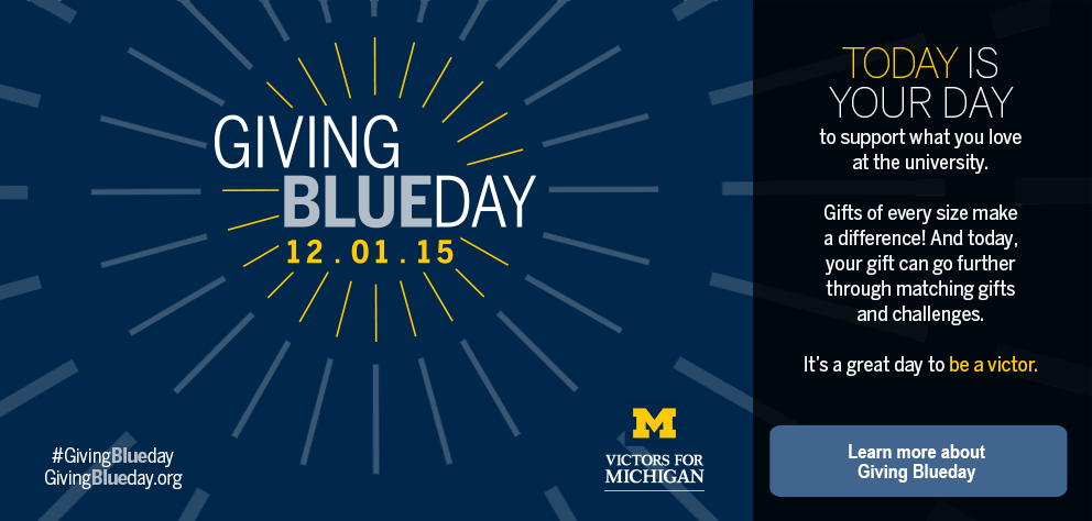 thumb:1279, href:/givingblueday, alt: One day. 24 hours. That's 1,440 minutes to support what you love about Michigan.