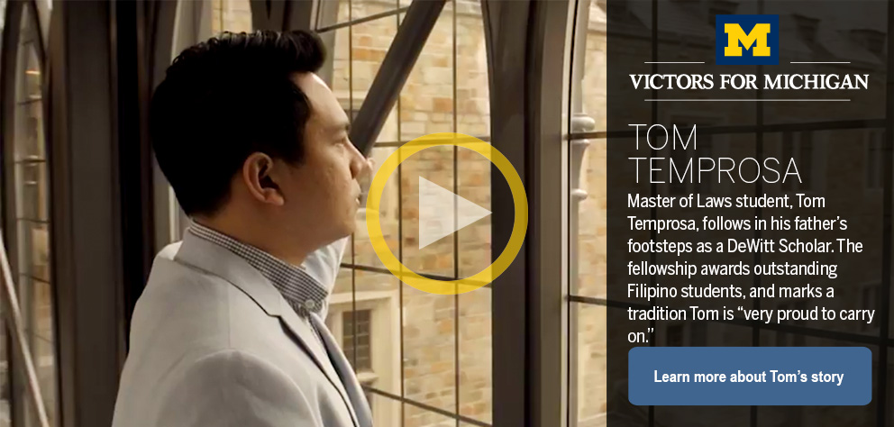 "thumb:1318, href:https://www.youtube.com/watch?v=ks8xwUeyOXo, alt: Master of Laws student, Tom Temprosa, follows in his father's footsteps as a DeWitt Scholar. The fellowship awards outstanding Filipino students, and marks a tradition Tom is ""very proud t"