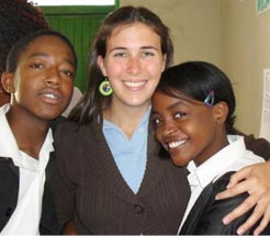 Natalie Wowk with two of her Namibian students.